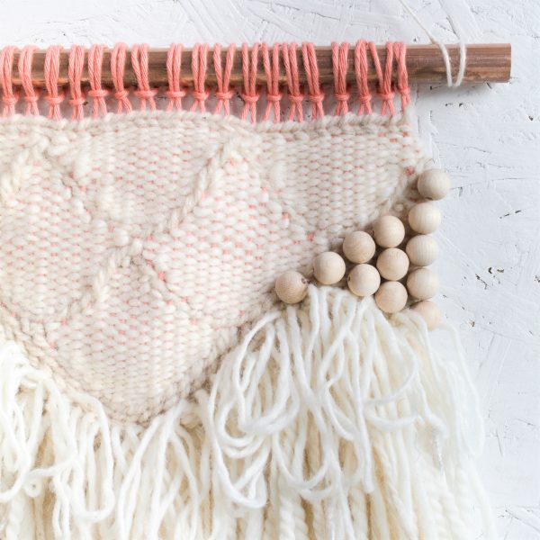 Beaded Scalloped Handwoven Wall Hanging with Beading - IMG 4233