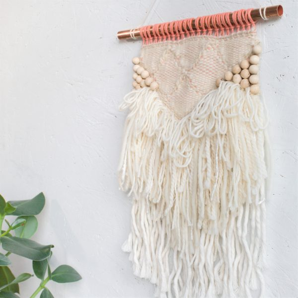 Beaded Scalloped Handwoven Wall Hanging with Beading - IMG 4235
