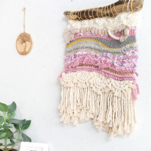 Handmade Woven Macrame Wall Hanging (Pink, Grey and Neutral)