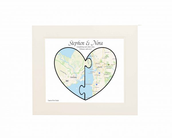 Double Map Wall print - Jigsaw Limed mount 1