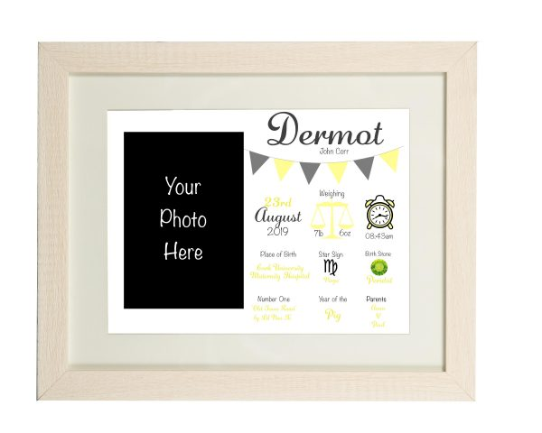 Personalised New Baby Wall Print and Photo Frame - Limed white frame yellow