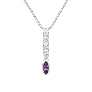 Handmade sterling silver Byzantine chainmaille and amethyst marquise necklace