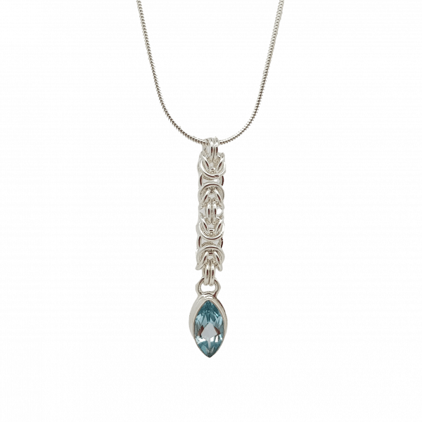 Handmade sterling silver Byzantine chainmaille and blue topaz marquise necklace