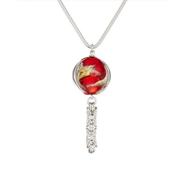 Handmade designer Flamenco Chainmail and Murano Glass Necklace