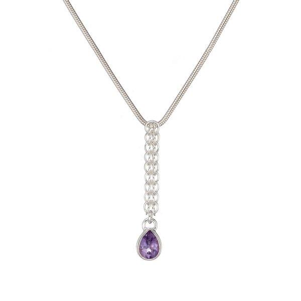 Handmade Persian Amethyst Drop Necklace