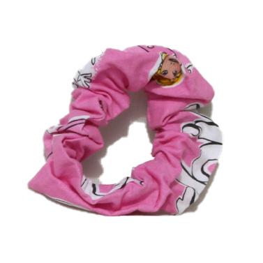 Girls Cotton Scrunchie (Four) - Pink - Pink scrunchies 3