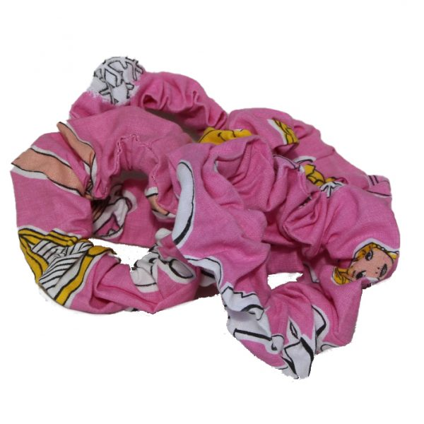 Girls Cotton Scrunchie (Four) - Pink - Pink scrunchies group barbie doll style