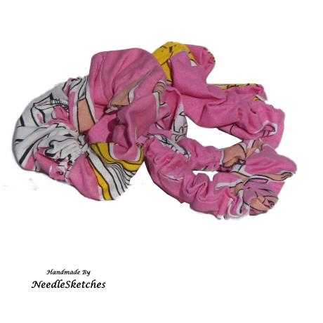 Girls Cotton Scrunchie (Four) - Pink