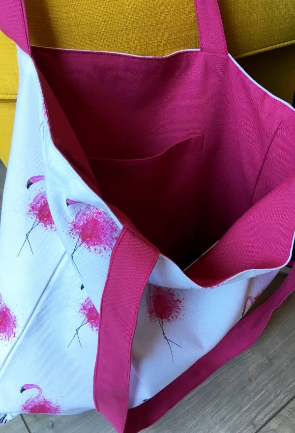 Flamingo Luxury Tote - Pocket Lining