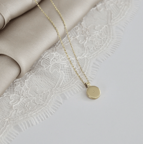 Round Initial Necklace 9ct Gold