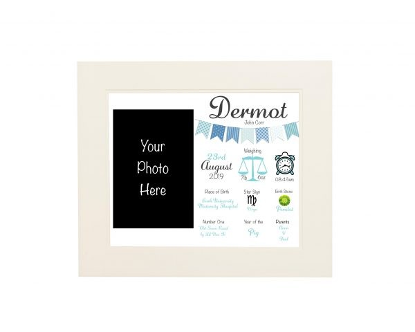 Personalised New Baby Wall Print and Photo Frame - White mount blue