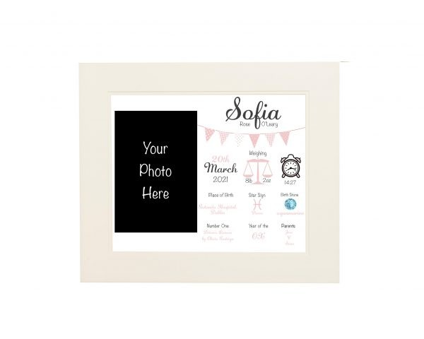 Personalised New Baby Wall Print and Photo Frame - White mount pink