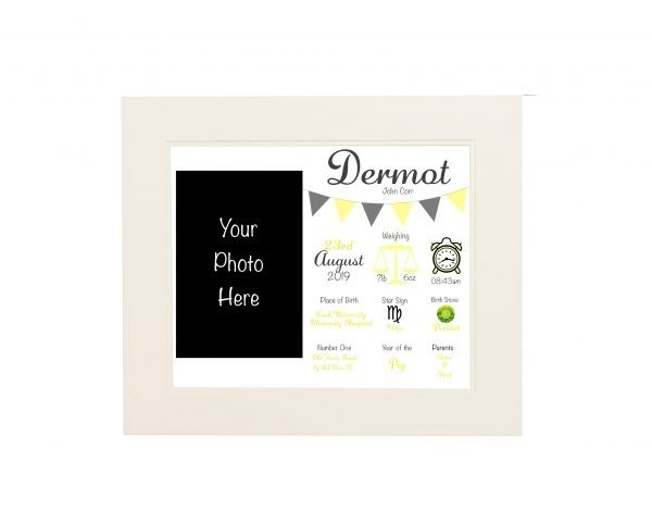 Personalised New Baby Wall Print and Photo Frame - White mount yellow
