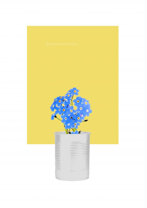 Forget-Me-Not (Yellow) Art Print - forget me nots D yellow