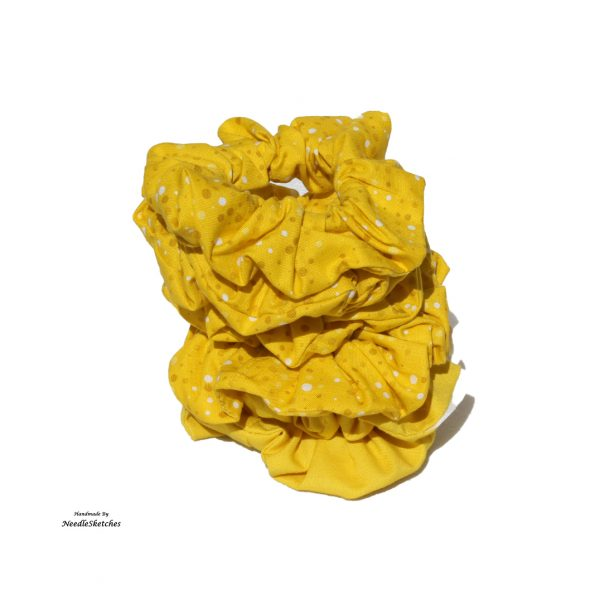 Girls Cotton Strong Scrunchie -Yellow with a polka dot edge detail - group of yellow strong scrunchies stacked