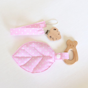 Owl Wooden Teether And Dummy Clip Set