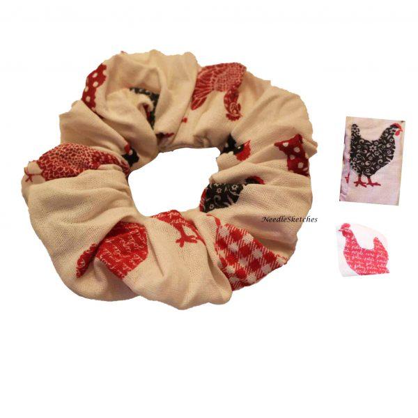 Girls Cotton Scrunchie (two) - Hen Pattern - hen scrunchie 1