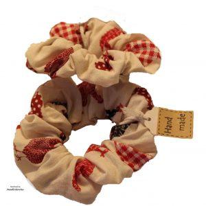 Girls Cotton Scrunchie (two) - Hen Pattern