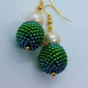 Pearl Pom-Pom Earrings Ombre Green