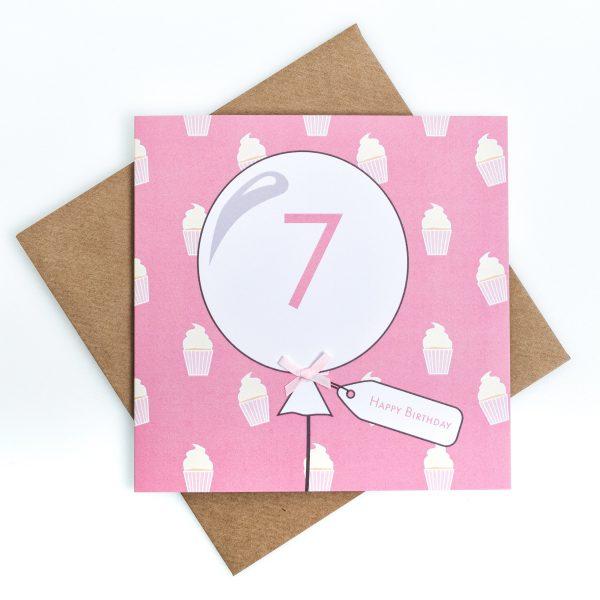 7th Birthday Card Cupcake