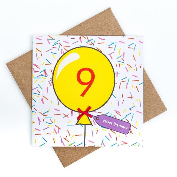 9th Birthday Card Sprinkles