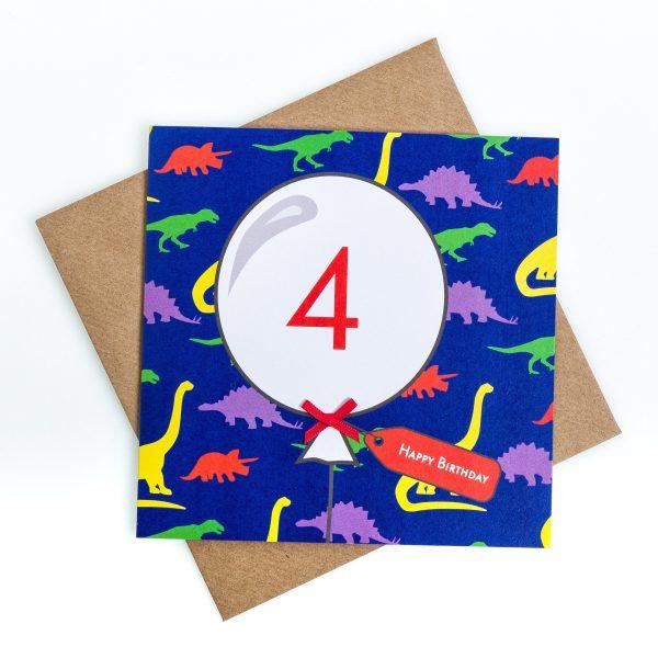 4th Birthday Card Dinosaur