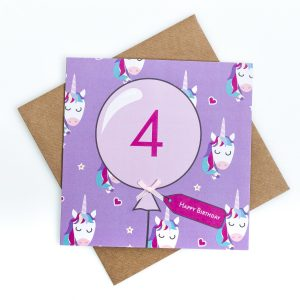 4th Birthday Card Unicorn