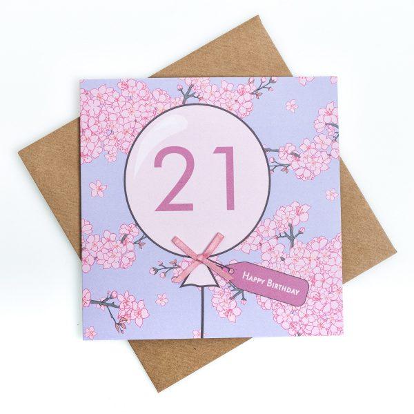 21st Cherry Blossom Birthday Card