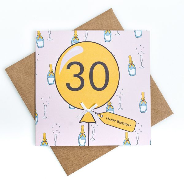 30th Bubbles Birthday Card
