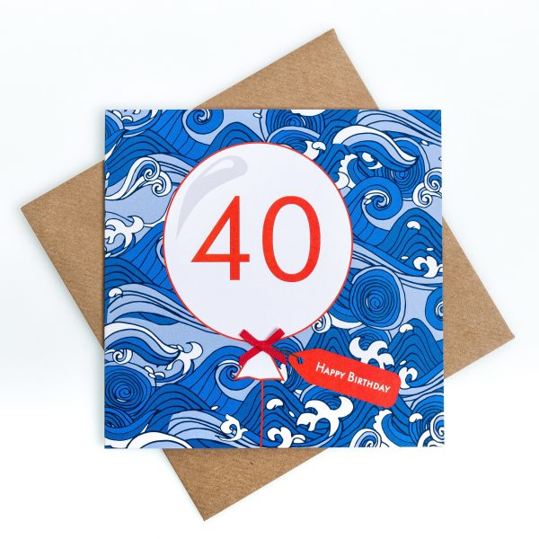 40th Wave Birthday Card