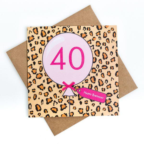 40th Animal Print Birthday Card