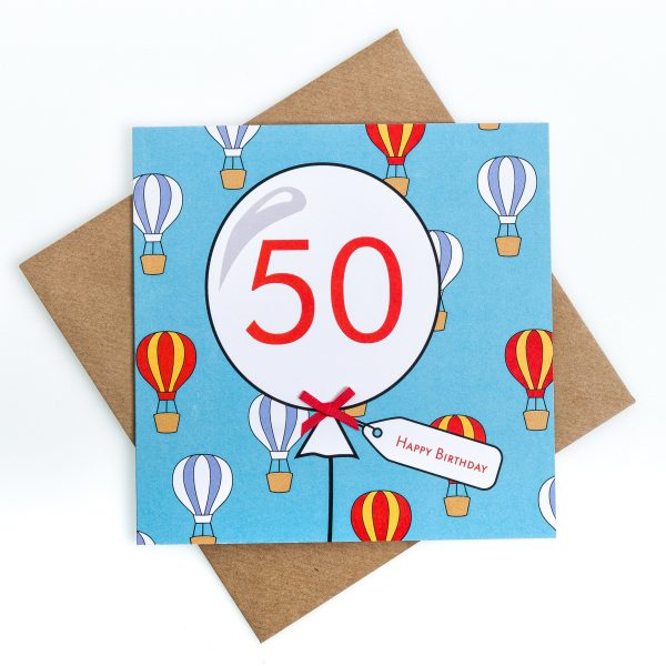 50th Hot Air Balloon Birthday Card