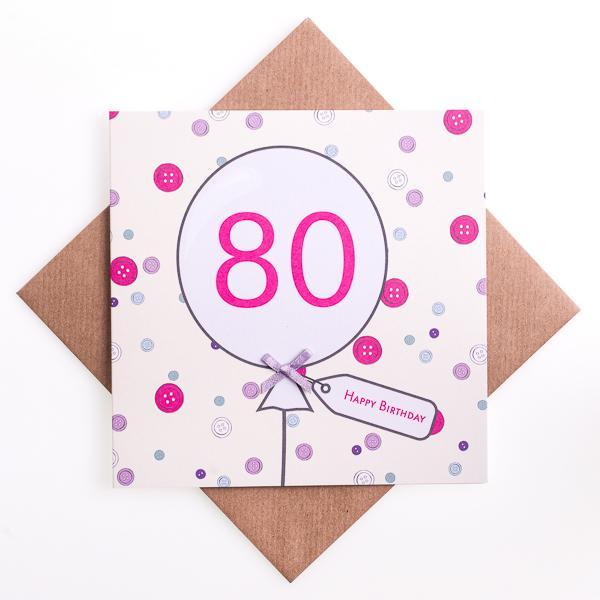 80th Button Birthday Card