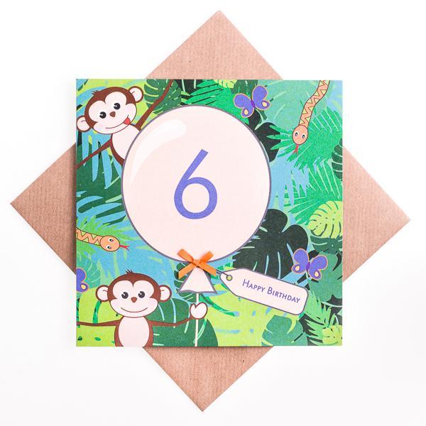 6th Birthday Card Jungle