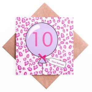 10th Birthday Card Animal Print
