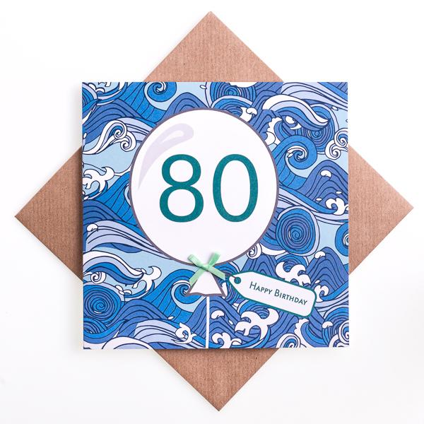 80th Wave Birthday Card