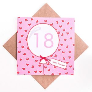 18th Heart Birthday Card