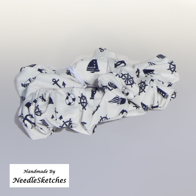 Large Cotton Scrunchie - navy and white