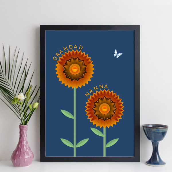 elevencorners personalised couple flowers print