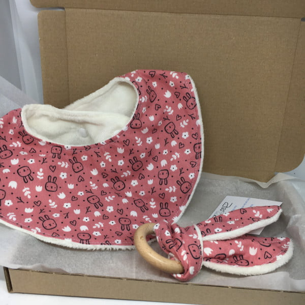 Baby Bib Gift Set Bunny Pink