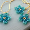 Floral Earrings and Pendant Set - Ombre Green