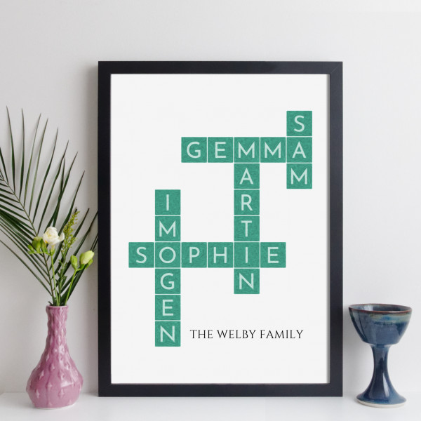 elevencorners personalised family crossword print