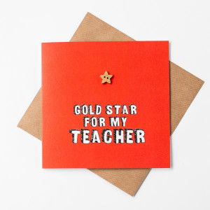 Gold Star Thank You Teacher Card
