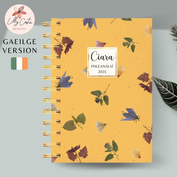 Yellow Flowers Personalised Gaeilge Planner Diary Journal