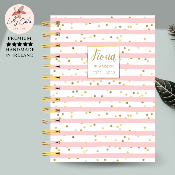 Pink Stripes Personalised Planner Diary Journal