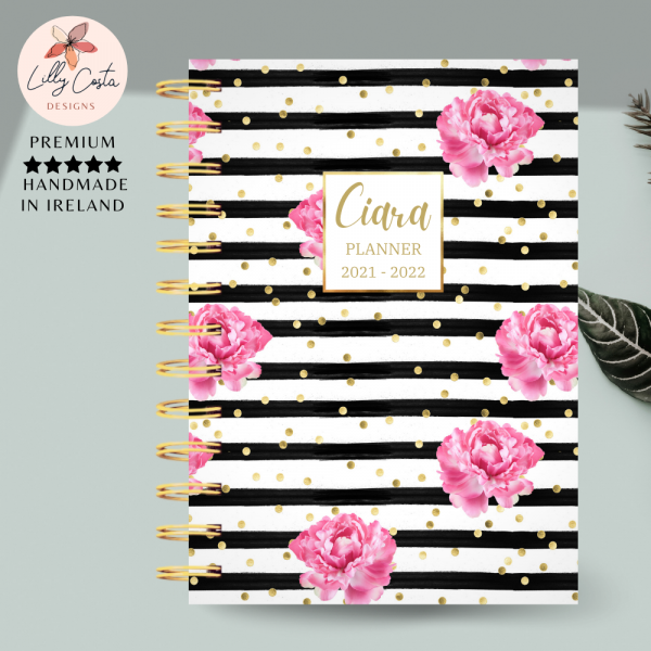Black Stripes and Flowers Personalised Planner Diary Journal