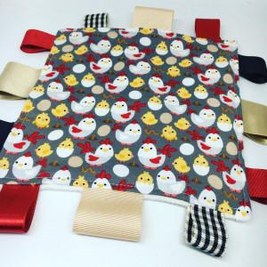 Sensory Tag Blanket chickens