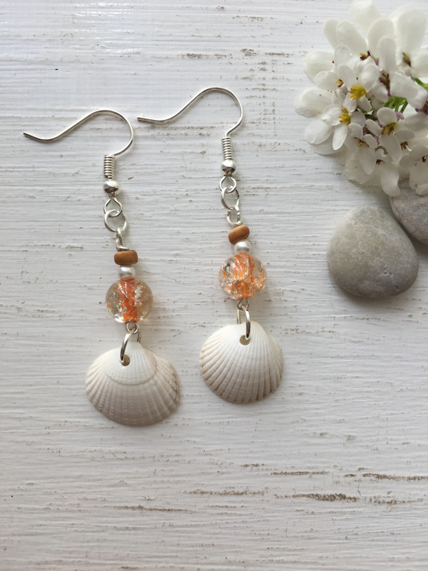 White Cockle Shell Earrings