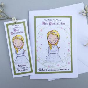 Personalised Girls Communion Card