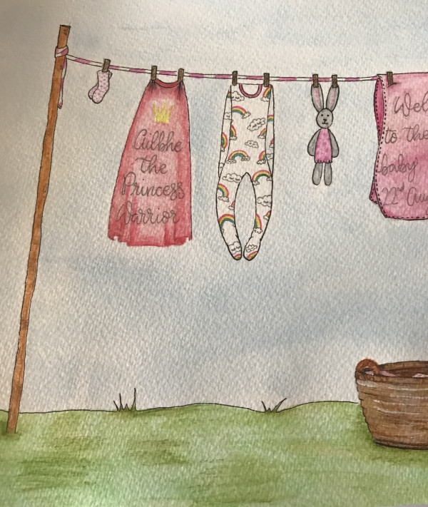 Hand drawn and Painted New Baby Clothesline - IMG 1243 scaled